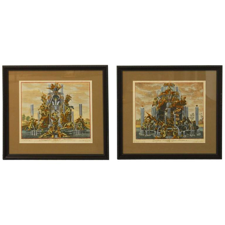 Gorgeous pair of etchings featuring battle scenes of Greco-Roman mythological characters set over a fountain. The scenes feature Hercules, the muses, cherubs, griffins, lions, bears, leopards, Pegasus and other heroes. Engraved by John Balthasar