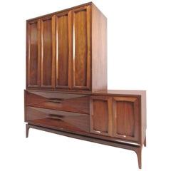 Two-Piece Mid-Century Sculpted Bedroom Dresser