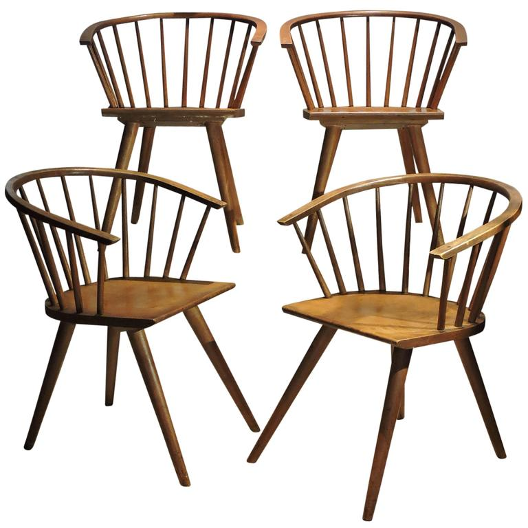 Wonderful Modernist Windsor Chairs By Russel Wright For Conant Ball For Sale