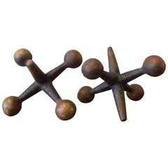 Pair of Large Mid-Century Cast Iron Jacks or Bookends