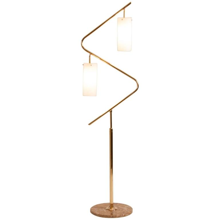 french mid century serpentine brass floor lamp for sale at. Black Bedroom Furniture Sets. Home Design Ideas