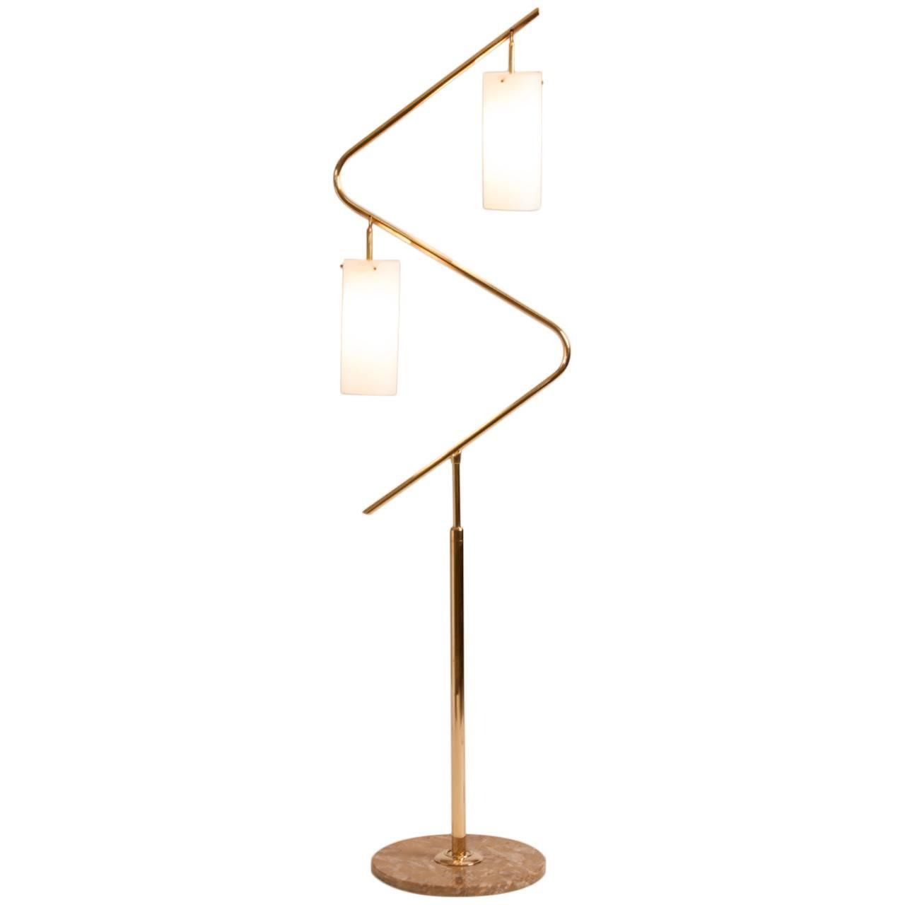 French mid century serpentine brass floor lamp for sale at for Curva 2 floor lamp