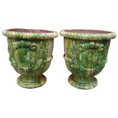 Pair of Glazed French Anduze Pots
