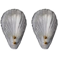Pair of Elegant Murano Glass Sconces with Shell Design by Barovier & Toso