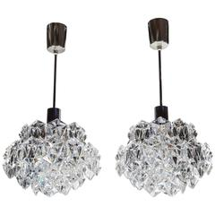 Pair of Exquisite Faceted Crystal Pendant Lights by Kinkeldey