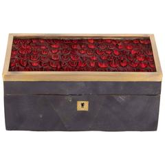 Decorative Pen Shell Box with Exotic Red Feathers