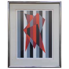 Vintage Modern Art Hard-Edge Print by Famous Artist under a Pseudonym