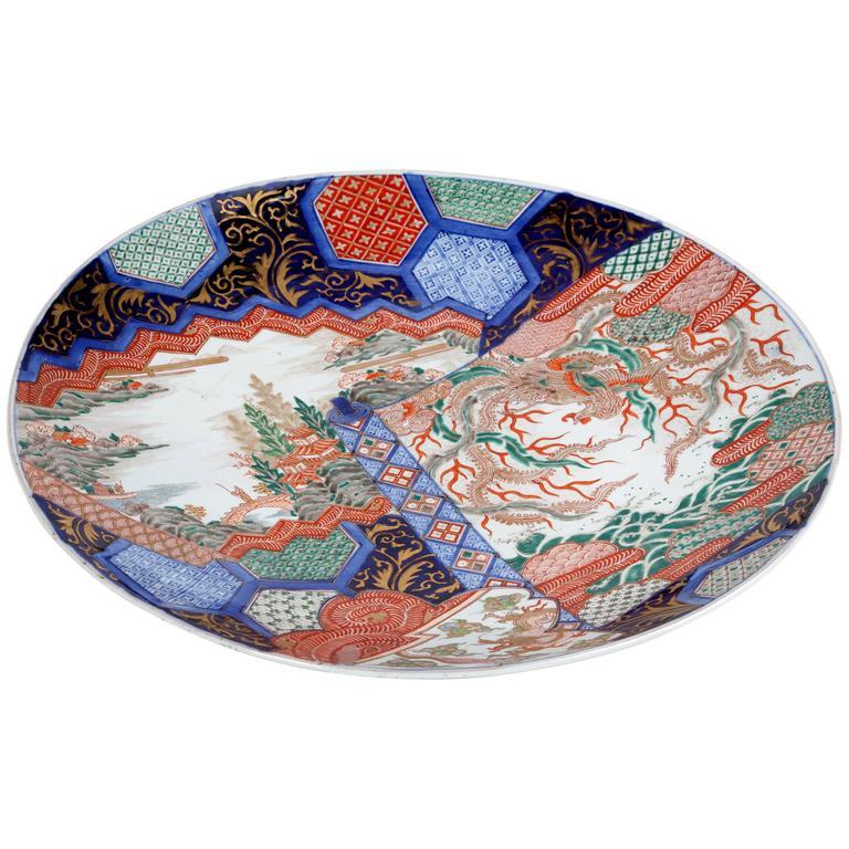 Large 19th Century Imari Platter For Sale