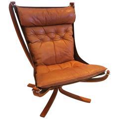 1970s Highback Lounge Falcon Chair by Sigurd Ressell in Teak and Leather