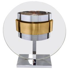 Pierre Cardin Lucite, Brass and Chrome Table Lamp, France, 1970s