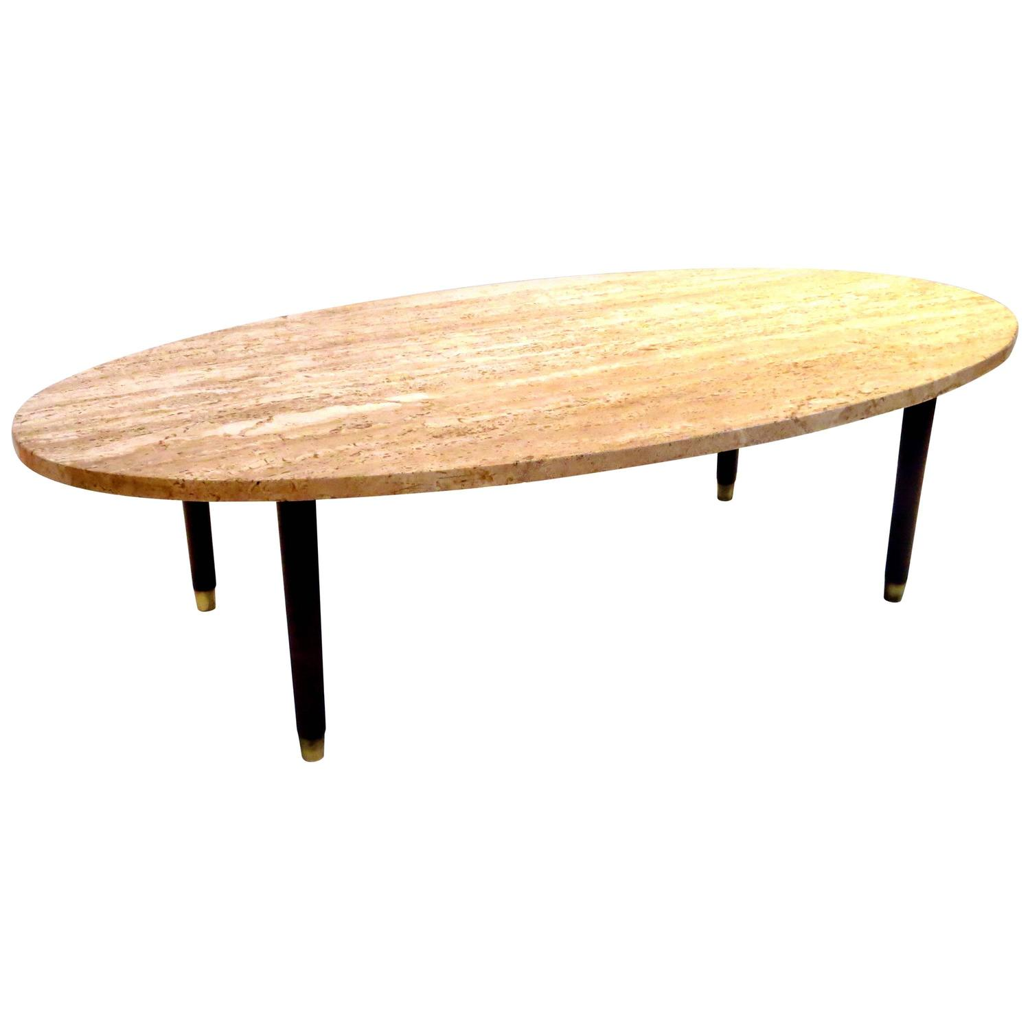 Mid Century Modern Marble And Wood Tapered Legs Oval Coffee Table At 1stdibs