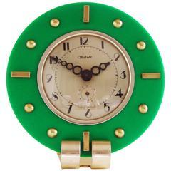 Stunning French Art Deco Green Lucite, Aluminium & Brass Mechanical Alarm Clock