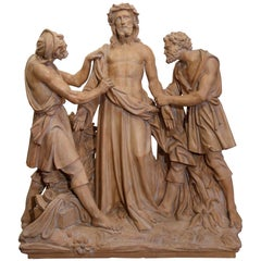 Large 19th Century French Terracotta Christ Sculpture before Crucifixion