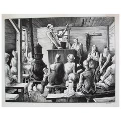 "Thomas Hart Benton Original Stone Lithograph, 1941, ""The Meeting"""