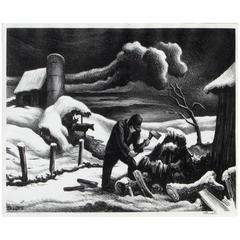 "Thomas Hart Benton Original Lithograph, 1940 ""The Woodpile"""