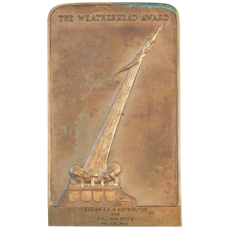 """Weatherhead Award,"" Rare Art Deco Bronze Panel for Excellence in Aerospace For Sale"