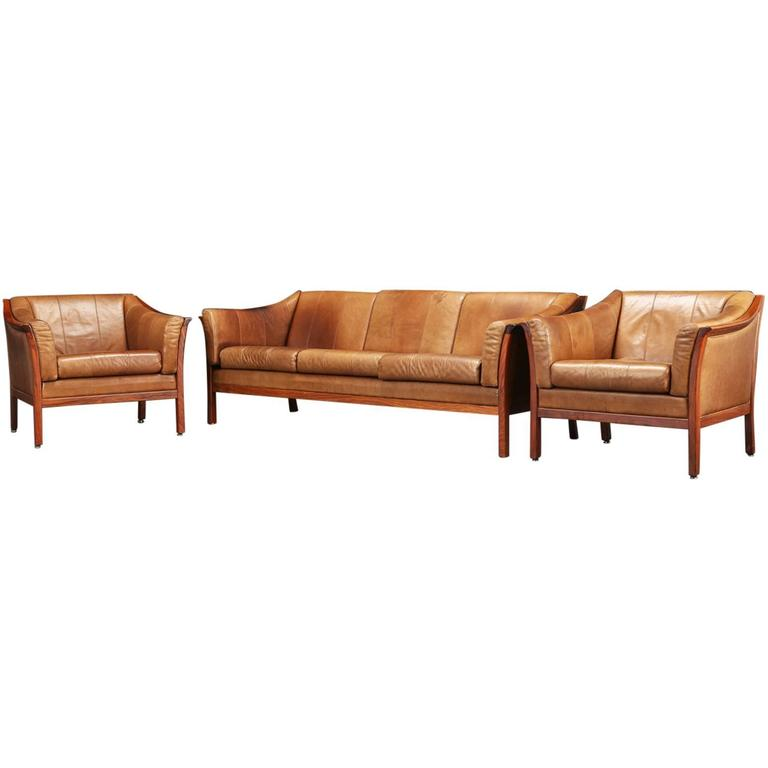 Good quality set of danish rosewood and leather living for Danish living room furniture