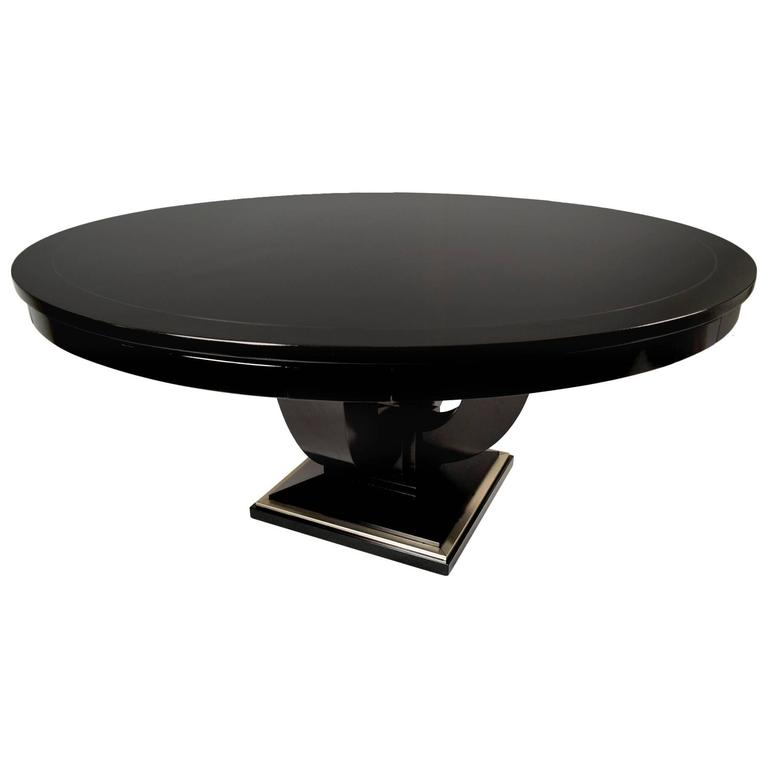 Vintage baker round ebonized card table at 1stdibs for Contemporary game table and chairs