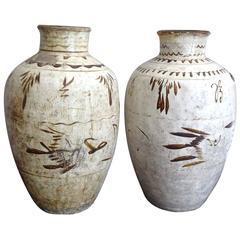 Large Pair of Ceramic Urns, 17th Century
