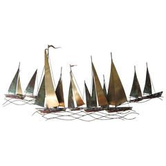 Curtis Jere Sailboat Wall Sculpture, 1971