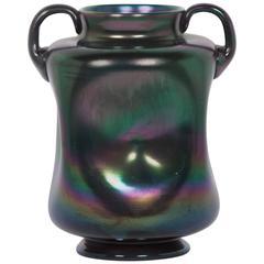 Iridescent Dark Glass Vase by Ercole Barovier