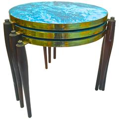 1950s Stacking Tables in Aqua Laminate with Brass Details