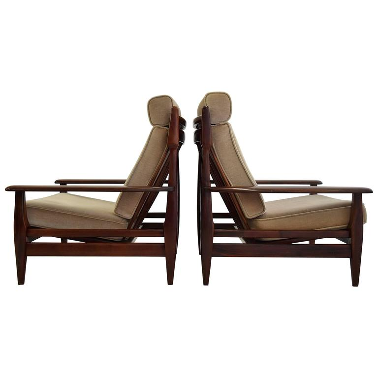 Mid Century Modern Jean Gillon Style Mahogany Lounge Chairs