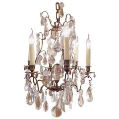 French Maison Baguès Louis XV Style Patinated Bronze and Crystal Chandelier