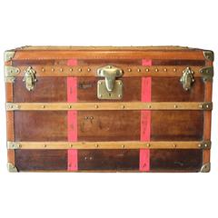 1920s Moynat Brown and Red Stripes Canvas French Steamer Trunk