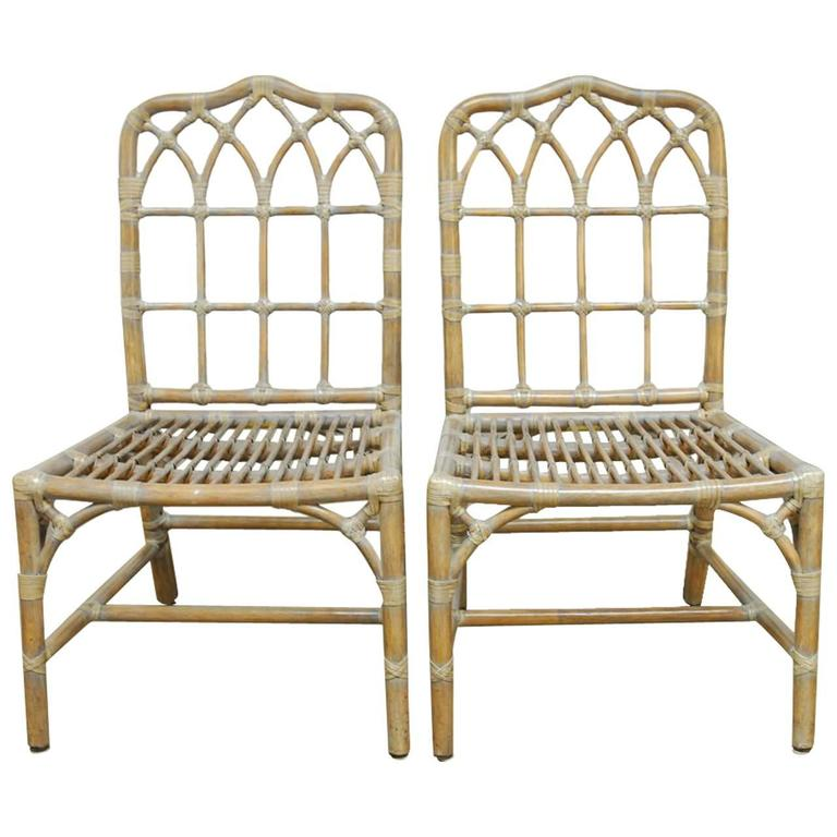 Pair Of Mcguire Chinese Chippendale Bamboo Dining Chairs For