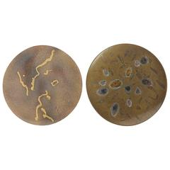 Two Hand-Painted Abstract Ceramic Plates by 'Alan Beitner' Signed