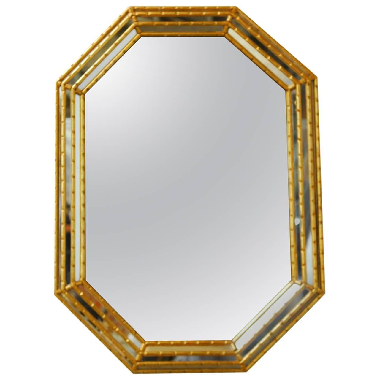 midcentury labarge octagonal faux bamboo mirror