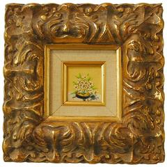 Diminutive Floral Painting in Baroque Carved Giltwood Frame