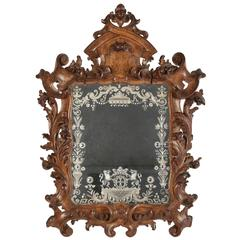 Mirror with Geometrics Motifs Surrounded by a Frame Beautifully Detailed
