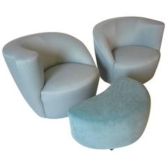 Vladimir Kagan Nautilus Chairs with Ottoman