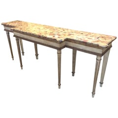 Regency Style Carved Wood and Marble Console