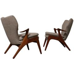 Pair of Sculptural Teak Lounge Chairs