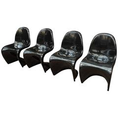 Set of Four Black Chairs by Verner Panton, 1980s