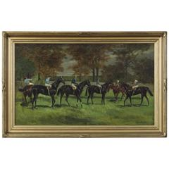 Early 20th Century Oil on Canvas Sporting Painting by John Beer