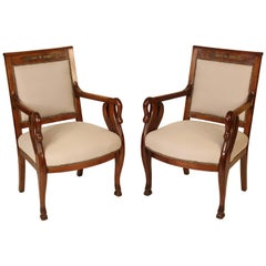 Pair of Empire Style Swan Carved Armchairs