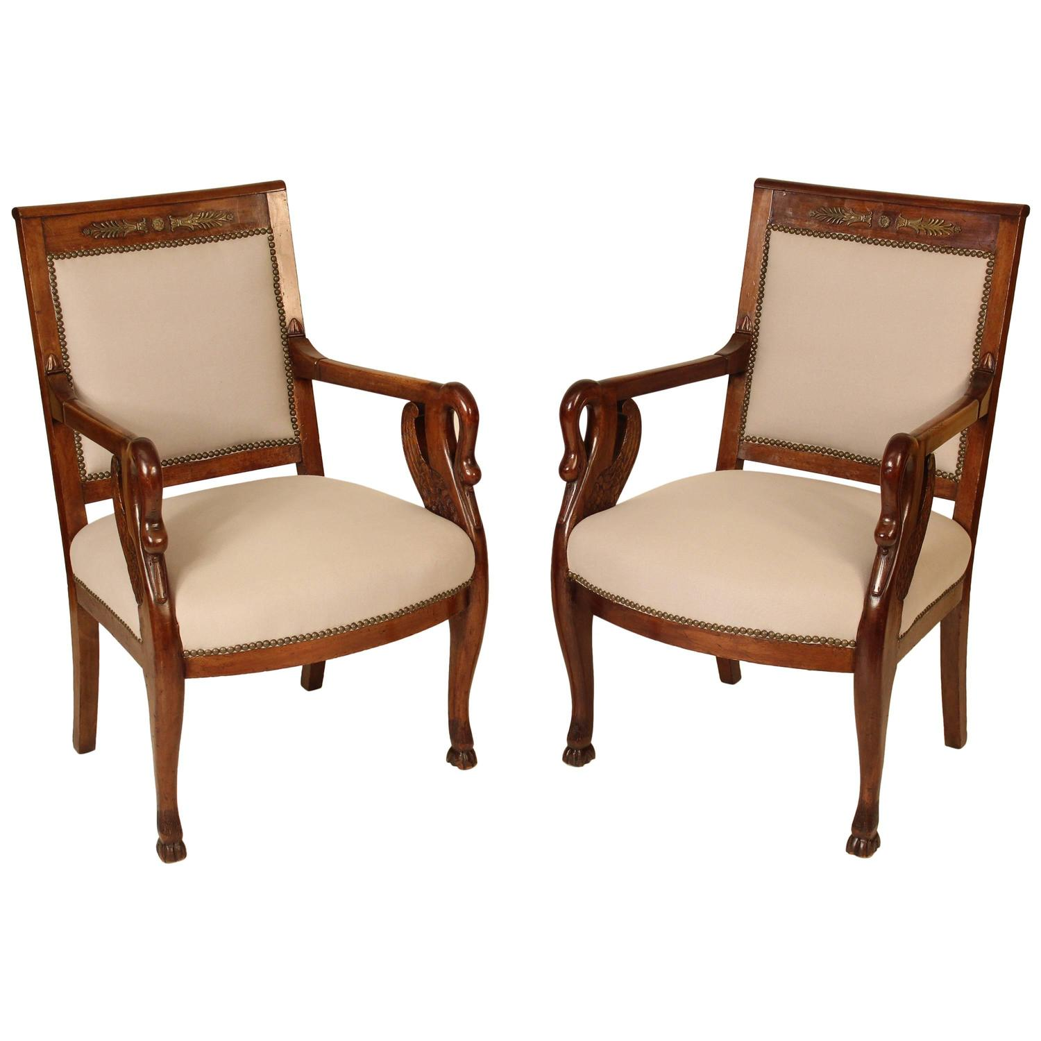 Pair of empire style swan carved armchairs for sale at 1stdibs for Swan chairs for sale