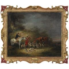 19th Century English Oil on Canvas Hunt Scene