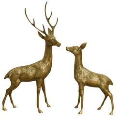 Huge Large Set Brass Deer Sculptures, 1970s