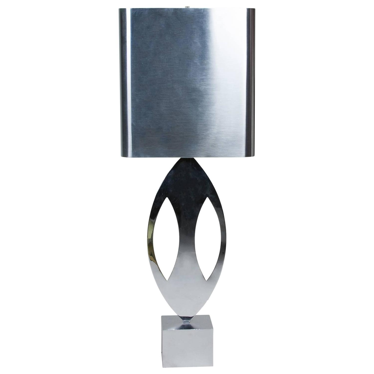 charles stainless steel table lamp for sale at 1stdibs. Black Bedroom Furniture Sets. Home Design Ideas