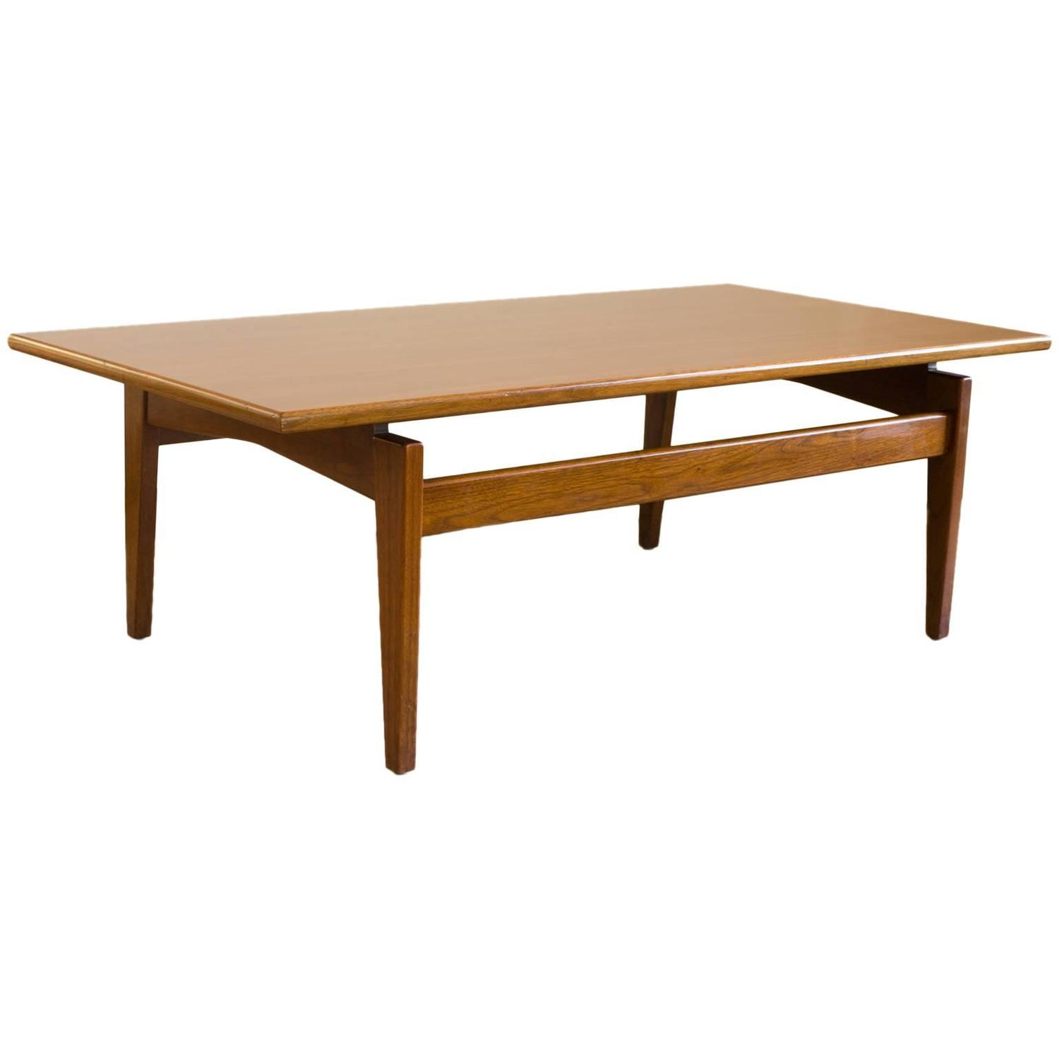 Jens Risom Walnut Floating Coffee Table with Sculptural Base at