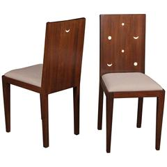 Pair of Wenge Side Chairs with Moon Form Inlays