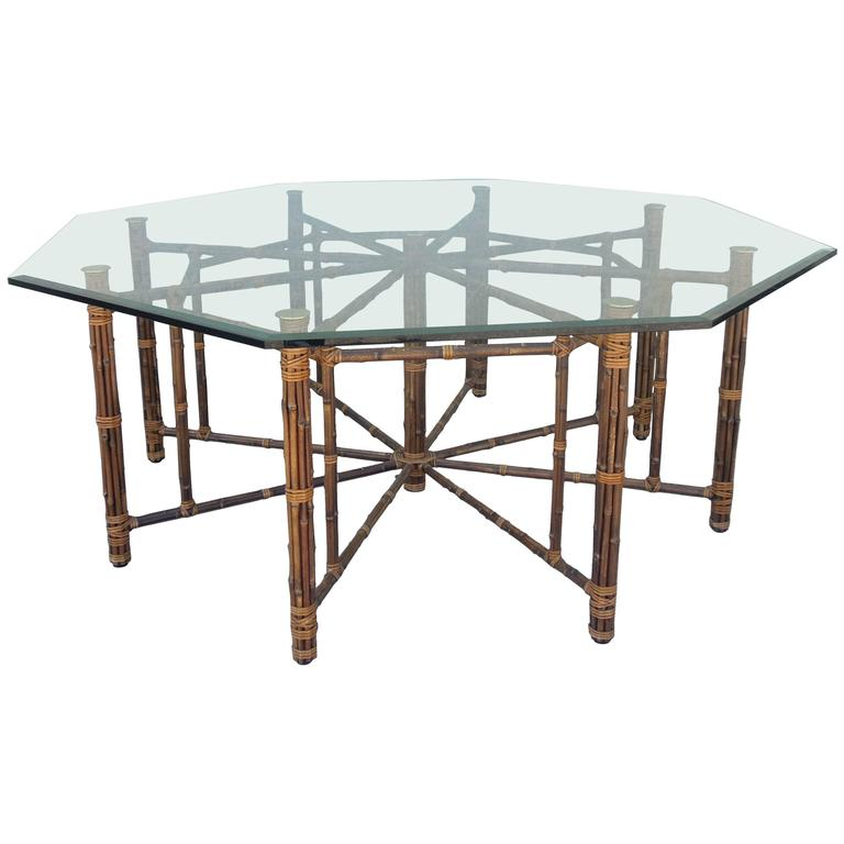 Rare Large Leg Vintage McGuire Hexagon Dining Table At Stdibs - Hexagon glass dining table