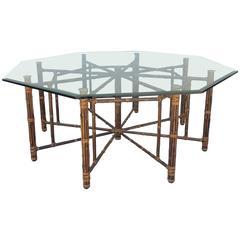 Rare Large 8 Leg Vintage McGuire Hexagon Dining Table