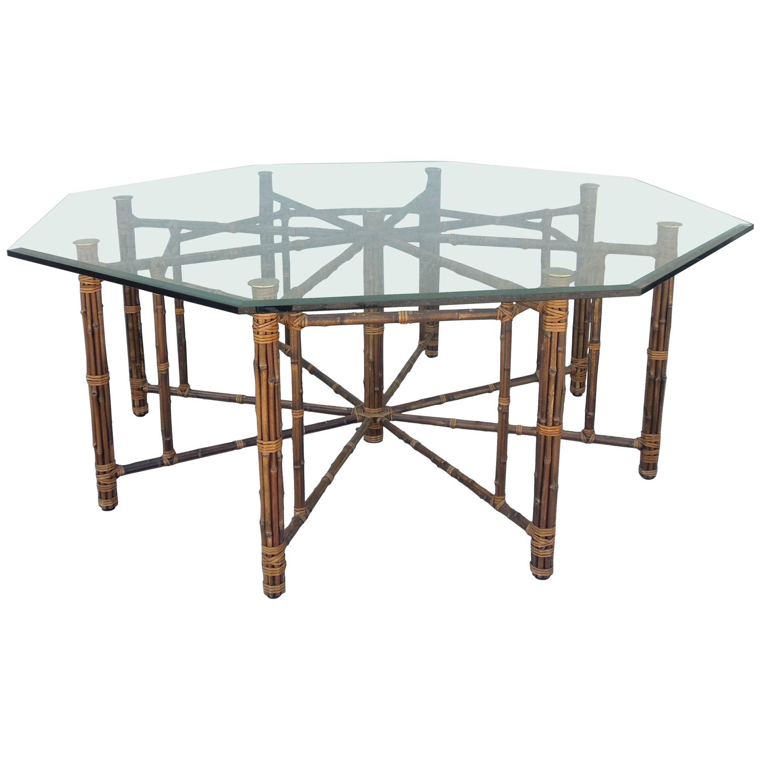 Rare Large 8 Leg Vintage Mcguire Hexagon Dining Table At