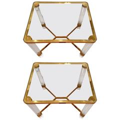 Pair of Karl Springer Brass and Lucite End Tables